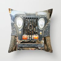 jeep Throw Pillows featuring Willie Jeep by Urlaub Photography
