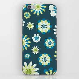 Floral Pattern in shades of blue, apple green, yellow and white iPhone Skin