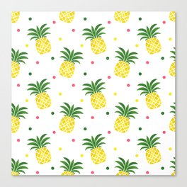 Tropical fruit sunshine yellow green pineapple polka dots Canvas Print