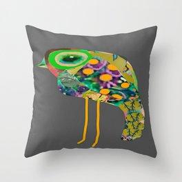 little green eyed boho bird Throw Pillow