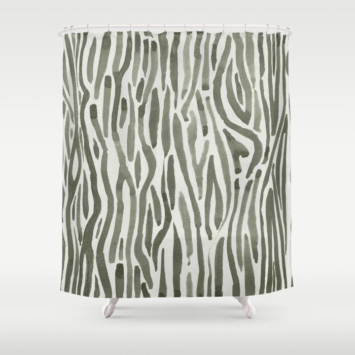 Simply Bonsai Lines In Green Tea And Lunar Gray Shower Curtain By