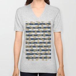 Modern nautical navy blue stripes faux gold pineapple Unisex V-Neck