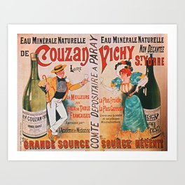 Eau Minerale Naturelle de Couzan Vichy St. Yorre - Vintage French Advertising Poster Art Print