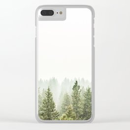 arial forest print, tree top print, wall art, woodland print, forest print, arial fog tree phoo Clear iPhone Case