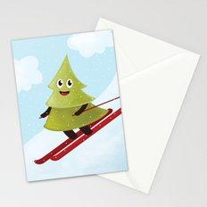 Happy Pine Tree on Ski Stationery Cards