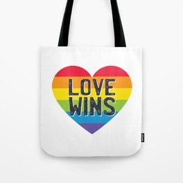 LGBT graphic Rainbow Heart - Parades - Valentine's - Love Wins Tote Bag