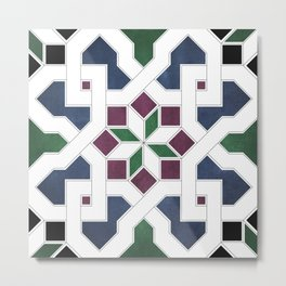 Oriental tile pattern - blue, green Metal Print
