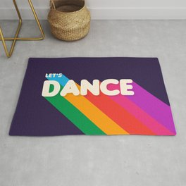 RAINBOW DANCE TYPOGRAPHY- let's dance Rug