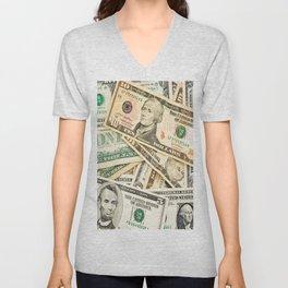dollar bills Unisex V-Neck