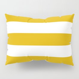 Mustard yellow - solid color - white stripes pattern Pillow Sham