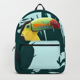 Green Toucan Tropical Banana Leaves Pattern Backpack