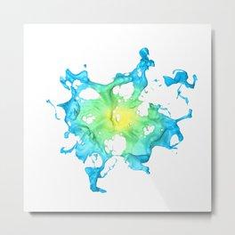 Blue Splash Flower Metal Print