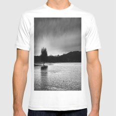 The lonely tree in the sea  White MEDIUM Mens Fitted Tee