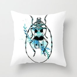 Turquoise Beetle Throw Pillow