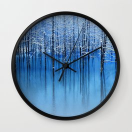 Winter Trees Glazed in Ice Reflecting in Pond Wall Clock
