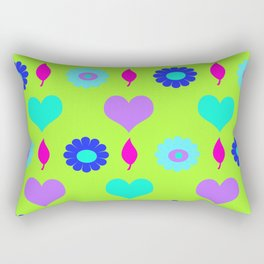 Daisy and heart all over print , duck egg Rectangular Pillow