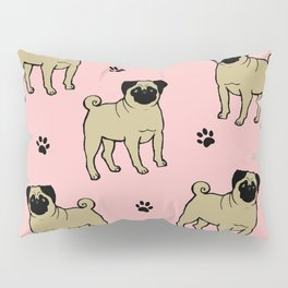 Funny pug dog on the pink background Pillow Sham