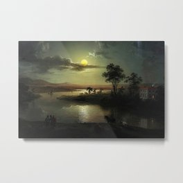 Classical Masterpiece 'Evening Scene with Full Moon & Persons' by Abraham Pether Metal Print
