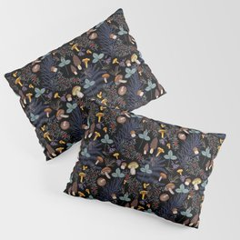 dark wild forest mushrooms Pillow Sham