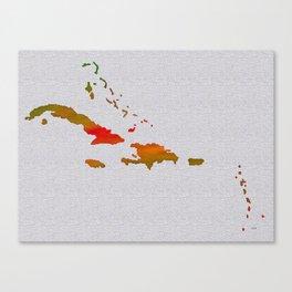 Colorful Art Caribbean Map Canvas Print