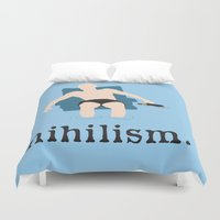 the big lebowski Duvet Covers featuring Nihilism - The Big Lebowski Print by Kelmo