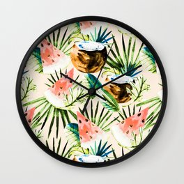 Pattern of tropical fruit and plants II Wall Clock