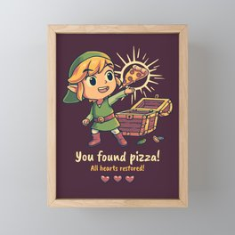 You Found Pizza All Hearts Restored // Cute RPG Gaming, Toon Link Framed Mini Art Print