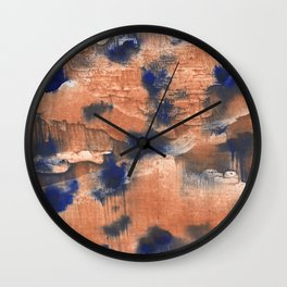 Peach Blue colorful watercolor design Wall Clock