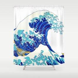 Great Wave off Kanagawa T-Shirt Shower Curtain