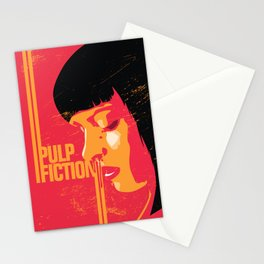 Mia wallace pulp fiction poster art print movie show minimalistic illustration Stationery Cards