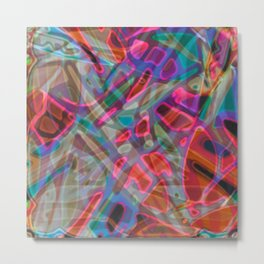 Colorful Abstract Stained Glass G297 Metal Print