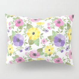 Spring Bouquet Watercolor Pillow Sham