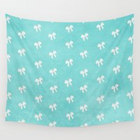 bows Wall Tapestries featuring Tiffany Blue Bows by alterEGO