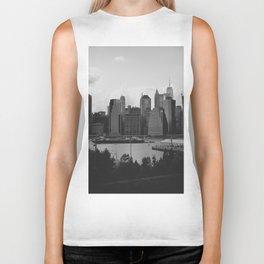 Black and White Manhattan Views Biker Tank