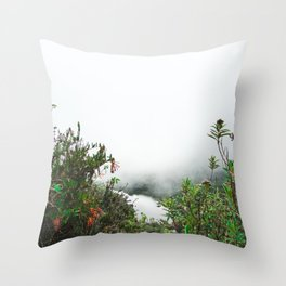 Greenery in Clouds | Nature Landscape Photography of Misty Cloudy Lake with Greenery Throw Pillow