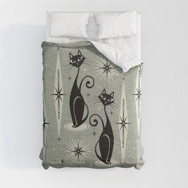 Mid Century Meow Retro Atomic Cats - Gray Comforters