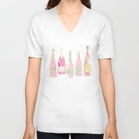 champagne V-neck T-shirts featuring Champagne Everyday by Angela Stevens