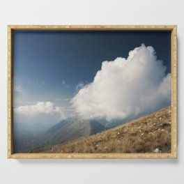 Hiking with the clouds Serving Tray