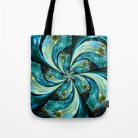 novelty Tote Bags featuring Water Wheel by Moody Muse