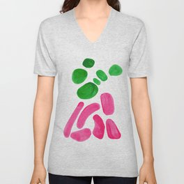 Abstract Minimalist Mid Century Modern Colorful Pop Art Complementary Pink Green Floral Bubbles Unisex V-Neck