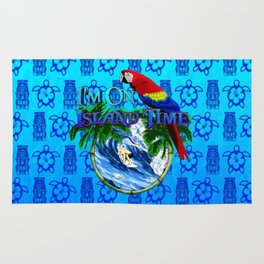Blue Tikis Island Time And Parrot Rug