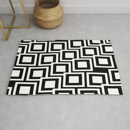 Black and White Squares Pattern 02 Rug