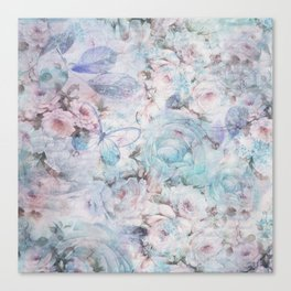 Shabby vintage pastel pink teal floral butterfly typography Canvas Print