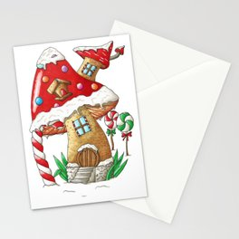 Mushroom gingerbread house Stationery Cards