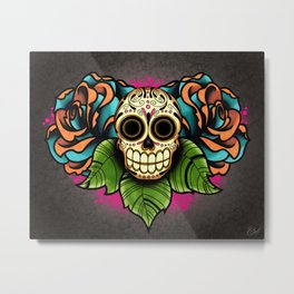 Sugar Skull and Roses - Day of the Dead Calavera Metal Print