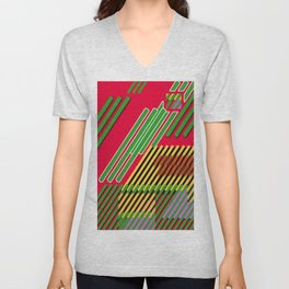 Slicing Pattern—lines and clrs—⁄ ⁄⁄ neå† design!¡!¡!COOOOL!¡!¡!¡! Unisex V-Neck