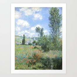 View of Vetheuil (1880) by Claude Monet high resolution famous painting Art Print