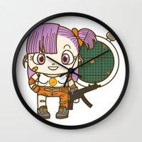 dragonball Wall Clocks featuring Bulma and the dragonball radar by Samtronika