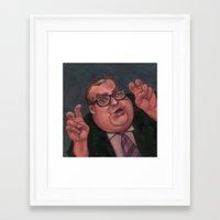 snl Framed Art Prints featuring Chris Farley as Bennett Brauer by Shayna Piascik