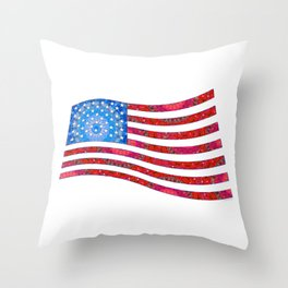 Patriotic Art - Mandala US Flag - United States of America Art - Sharon Cummings Throw Pillow